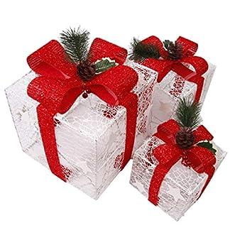 CCLIFE 3 cajas de regalo led decorativas con luz LED,cajas preiluminadas para decoración navideña, Color:Oro+Rojo