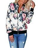 Minetom Damen Reißverschluss Blumen Gedruckt Bomber Jacke Piloten Baseball Mantel Outwear Tops Coat Rot DE 40