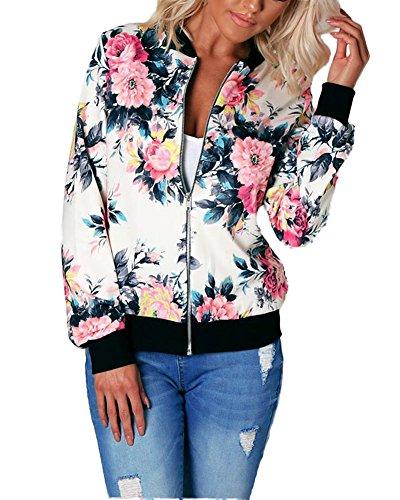 Minetom Damen Reißverschluss Blumen Gedruckt Bomber Jacke Piloten Baseball Mantel Outwear Tops Coat Rot DE 34