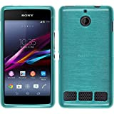 Coque en Silicone pour Sony Xperia E1 - brushed bleu - Cover PhoneNatic Cubierta + films de protection