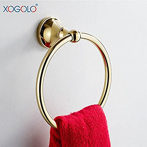 Xogolo Bathroom Lavatory Towel Ring, Wall Mount Screw-on Towel Holder, Solid Brass, Polished Gold