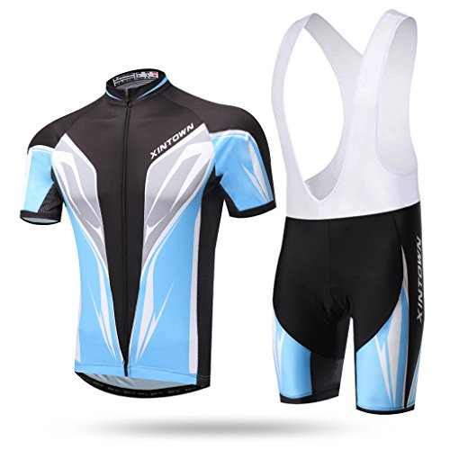 iCreat Fahrradbekleidung Kurzarm Trikot & Trägerhosen Hose Sets Radfahren Rad NEU mit Silikonmatte S bis XXXL
