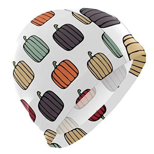 Suhatt Pumpkins Fall Colors Lycra Swim Cap Swimming for Women Men -