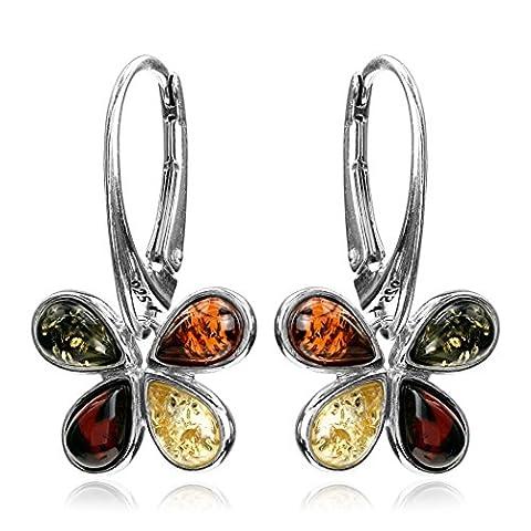 Noda Boucles d'oreilles dormeuses en ambre multicolore et argent sterling en forme de papillon