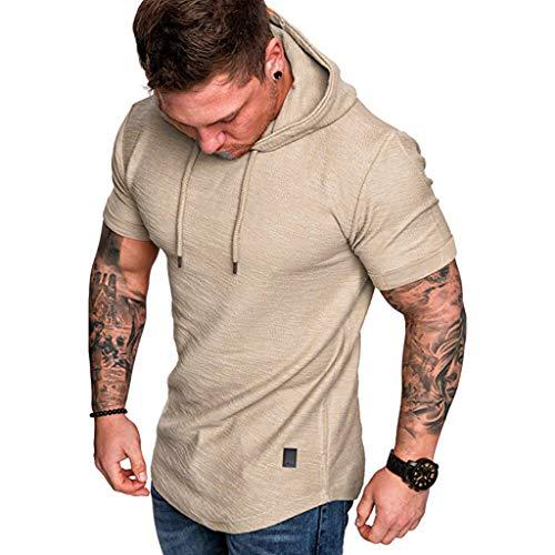 BOLANQ Kurzarm Hemden Herren, Beiläufige populäre große kurzärmlige Hoodie-Spitzenbluse der Art- und Weisemänner nehmen passende ab(Medium,Khaki)