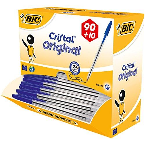 BiC Cristal medium - Bolígrafo de punta redonda, color transparente, caja de 100 unidades