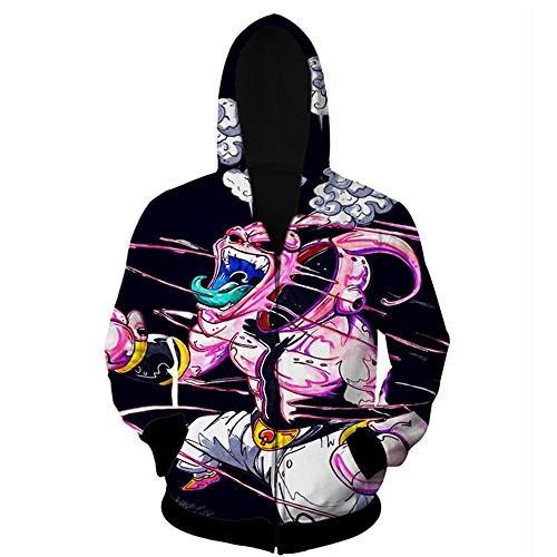 Wycdbk Hoodies Sweatshirts 3D HD Print Pullover Tops Mit Taschen Reißverschluss Unisex Dragon Ball Super Majin Buu - Buu Majin Shirt