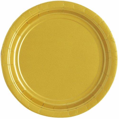 Unique Party 32044 - Piatti per Feste, Diametro 17,1 cm, Pacco da 20, Colore Oro (Gold)