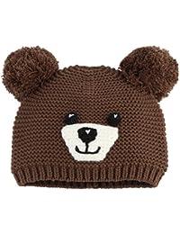 EOZY Kinder Mütze Jungen Mädchen Strickmützen Bär Winter Kappe Hut