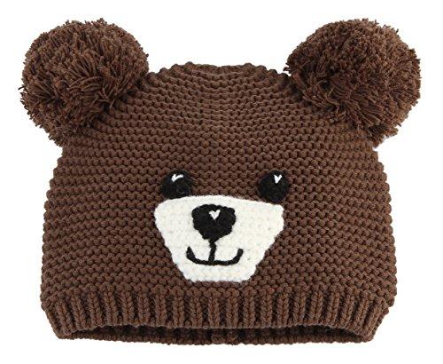 La Vogue Enfant Bébé Fille Garçon Bonnet Chapeau Tricot Hiver Ours Animaux  Oreille Hat Cache Café 4501e906345