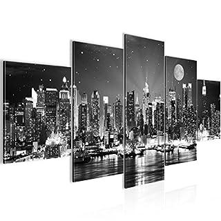 Runa Art Bilder New York City Wandbild 200 x 100 cm Vlies - Leinwand Bild XXL Format Wandbilder Wohnzimmer Wohnung Deko Kunstdrucke Grau 5 Teilig - Made IN Germany - Fertig zum Aufhängen 605251c