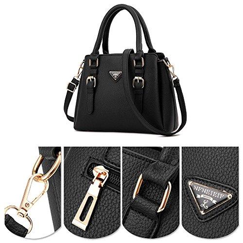 Burgund Vintage Yoome Tote Tasche Leder Verschluss Handtasche Zip PU Damen Grau Damen Schultertasche frf74wqA