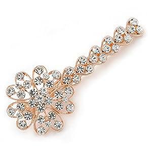 Avalaya Haarspange in Blumenform mit großen klaren Kristallen, roségold, 90mm Länge