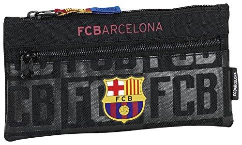 Safta Estuche Doble Cremallera F.C.Barcelona Black Oficial Escolar 230x110mm