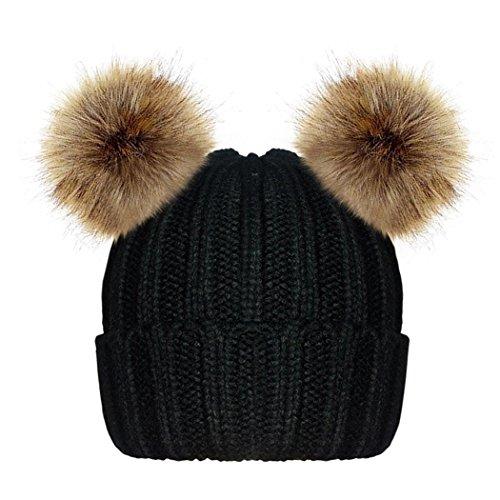 MIIOIM Gorros de Lana con dos Pompón tejidos de invierno Caliente Cap para Aduiltos y Bebé