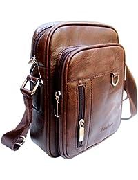 b45108256f50 AlexVyan Leather Casual Brown Men and Women Girl Boy Make Up Bag Shoulder  Bag Traveler Bag