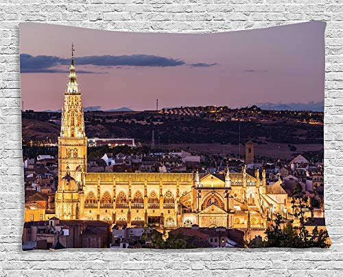 daawqee Wanderlust Dusk As The Flood Lights Are Illuminated On Cathedral In Ancient City of Toledo Spain Bedroom Living Room Dorm Wall Hanging Tapestry 80W X 60L Inch Unique Home Decor