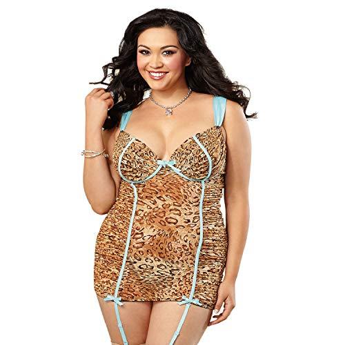 Dreamgirl Damen Strumpfhalter aus Netzstoff, Übergröße, exotisches Leopardenmuster - Mehrfarbig - 3X/4X