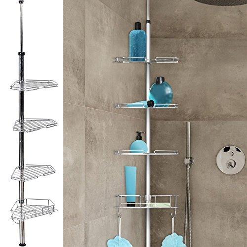 IDMarket - Etagère d'angle de douche télescopique en acier inoxydable