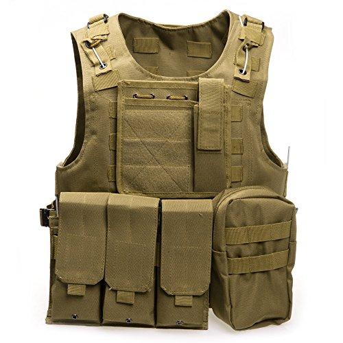 Tactical Vest, Mimi Cool Amphibious Tactical Military MOLLE Vest Combat Army Camouflage Storm plate carrier vest., khaki