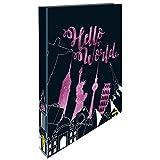 Online 07687/6 - Ringbuch Hello World mit Metallic Glitter, DIN A4, Rückenbreite 2,5 cm, Kunststoff