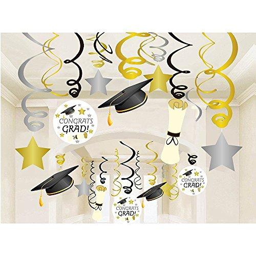 (KAIMENG abschluss deko Hängender Graduation Party Dekorationen HäNgender Strudel FüR Abschluss Party Gehen (mit Abschluss Hut & Diplome))