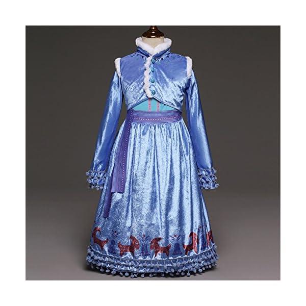 Principessa Girls Blu Snow Elsa Queen Costume Cosplay Operato dal Partito Ragazze Abito da Sposa con la Disposizione… 2 spesavip