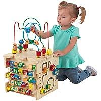 KidKraft 63298 Cube d'activité en bois Deluxe, jeu d'éveil premier âge, boulier enfant pour apprendre à identifier les couleurs, formes, lettres et chiffres
