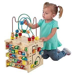 KidKraft 63298 Aktivitätswürfel Deluxe aus Holz mit Motorikschleife Perlenlabyrinth-Würfel - Kugelbahn Spielzeug für Babys, Kinder und Kleinkinder - Farben, Formen, Buchstaben und Nummern