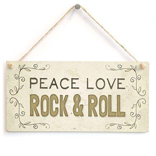 Home Decor Schild PEACE LOVE ROCK und Roll Holz Zeichen für Outdoor Yard Wandschild zum Aufhängen -