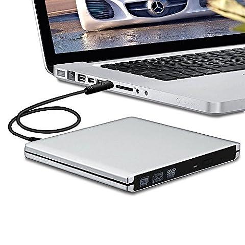 lecteur de DVD externe USB 3.0Cohesivetech Aluminium fin Portable DVD Burner Writer Graveur externe CD DVD RW ROM lecteur SuperDrive pour Apple MacBook Pro Air iMAC et ordinateur portable