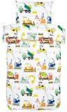 Bloomsbury Mill - Construction Vehicles - Trucks, Diggers & Cranes - Kids Bedding Set - Single Duvet Cover & Pillowcase