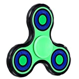 Fidget Spinner,POAO Inger Tri-Spinner Portátil Fidget Trabajo Ultra Rápido Rodamientos Juguete de Dedo Bueno Para Aliviar el Estrés ADHD EDC Tiempo de Matar a Mano (luminoso verde)