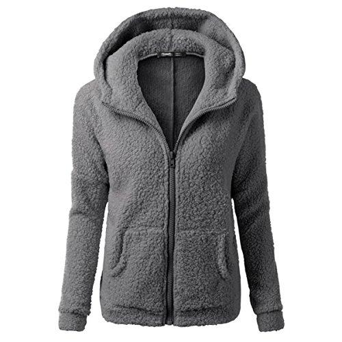 Cityelf Damen Sweatshirt Gr. M, Dunkelgrau Scoop Neck Fleece Sweatshirt
