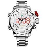 Uhr,Herrenuhren,Luxus Schwarz Edelstahl Band LED Analog Digital Japanisch Quarz Armbanduhr,Multifunktions-Sport-Mode-Uhren für Manner