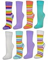 6 oder 12 Paar Damen Socken Bunte Ringel mit Komfortbund Damensocken Baumwolle - 34430 - sockenkauf24
