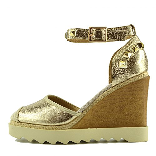Kick Footwear - Damen Keilabsatz Knöchel Riemchen Espadrille-Plattform Sandalen Sommer Schuhe - UK 7 / EU 40, Gold AF8668, Evening Prom Gladiator Sandals (Knöchel-espadrille)