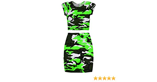 1ad90f59d97d Girls' Clothing Outfits & Clothing Sets JollyRascals Girls Neon Camo Crop  Top and Skirt Outfit New Kids Summer Set Ages 7 8 9 10 11 12 13 Years