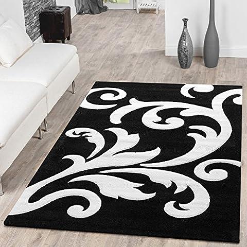 Designer tappeto Salotto tappeto Levante Modern con motivo floreale bianco