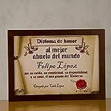 Regalo para abuelos personalizable: diploma pergamino 'al mejor abuelo del mundo' personalizado con su nombre, dedicatoria, firma y fecha
