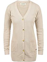 DESIRES Sophia Damen Strickjacke Cardigan Feinstrick mit V-Ausschnitt aus 100% Baumwolle