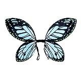 Amakando Schmetterlingsflügel Elfenflügel Kinder blau-schwarz Feenflügel Kind Tinkerbell Flügel Fee Schmetterling Elfe Feenkostüm Märchen Kostüm Accessoire