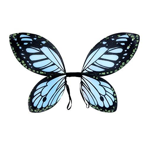 Schmetterlingsflügel Elfenflügel Kinder blau-schwarz Feenflügel Kind Tinkerbell Flügel Fee Schmetterling Elfe Feenkostüm Märchen Kostüm Accessoire (Schwarzer Schmetterling Kostüme)