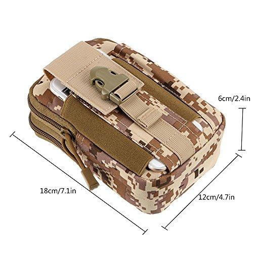 Pawaca Outdoor Reisen Sport Taktische Tasche,Outdoor Sport Tasche Tools Organizer Taille Taschen Pack - Multifunktional für Camping Reise Wandern Tan Camo