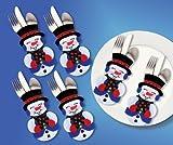 Design Works Filz Applikation silber lilanen Silverwear Pocket Set Schneemann Gesichter Besteck Taschen für Weihnachten Tisch Craft Kit für Weihnachts