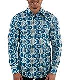 Comycom 70ger Jahre Muster Hemd Waves blau XL