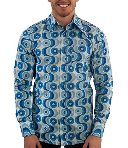 Comycom 70ger Jahre Muster Hemd Waves blau ()