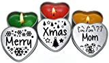 Merry Christmas Mom Xmas Gift. Set of 3 Silver Mini Heart Tin Tealight Style Scented Candles. Perfect Christmas Gift Secret Santa and Christmas Place Settings. Each tin is 45x45x25mm.