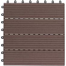 everfloor wpc baldosas de patio perfil macizo color teca