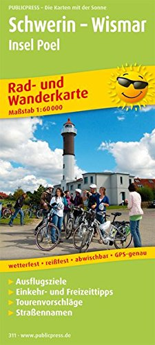 Rad- und Wanderkarte Schwerin - Wismar - Insel Poel: mit Ausflugszielen, Einkehr- & Freizeittipps, wetterfest, reissfest, abwischbar, GPS-genau. 1:60000